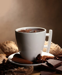 Printed roller blinds Chocolate cup of hot chocolate, cinnamon sticks, nuts and chocolate