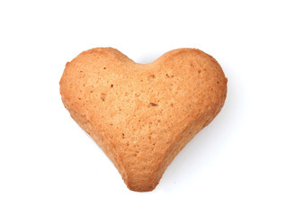Heart-shaped cookie isolated on white