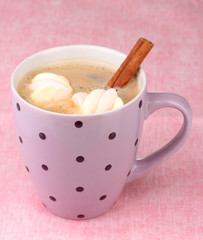 Cup of cappucino with marshmallows and cinnamon
