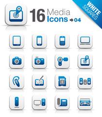 White Squares - Media Icons