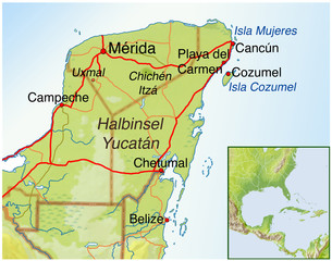 Landkarte von Mexiko.Halbinsel-Yucatan