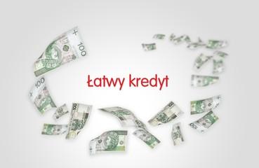 Flying moneys 100 PLN bills. Money falling in the white