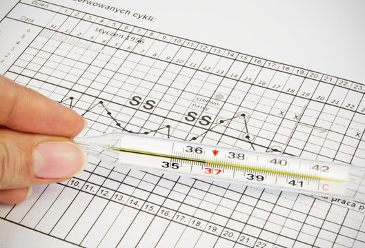 Clinical thermometer located on fertility chart