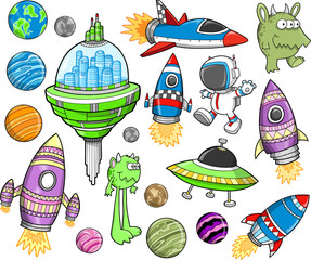 Garden Poster Cartoon draw Cute Outer Space Vector Design Elements Set