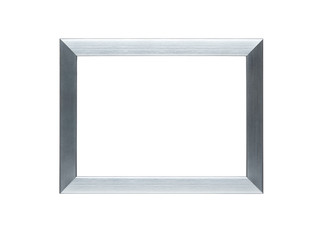 Empty silver frame with clipping path for the inside
