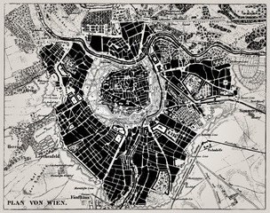Historical map of Wien, Austria.