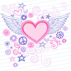 Sketchy Heart with Angel Wings Valentines Day Doodles Vector