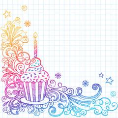 Sketchy Doodle Birthday Cupcake Design