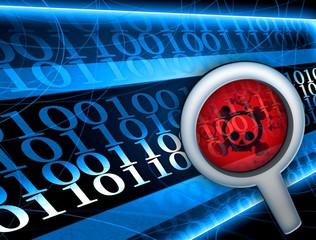 Glass focused on virus in digital code