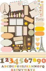 Scrapbook elements with Tour d'Eiffel. vector