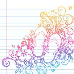 Sketchy Flip Flops Beach Doodle Vector