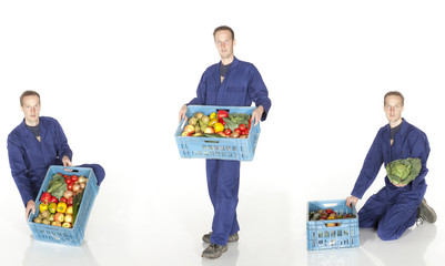 Super market vendor with crate