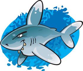 Cartoon Oceanic White tip Shark