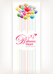 Colorful Balloon heart valentine day greeting card  illustration