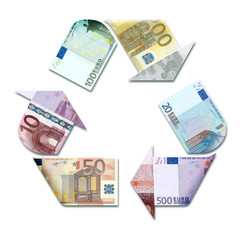 recycle symbol made with euro