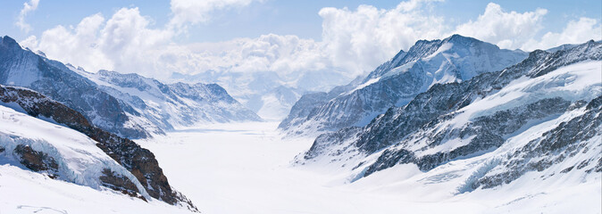 Photo sur Plexiglas Alpes Great Aletsch Glacier Jungfrau Alps Switzerland