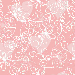 seamless pink floral pattern with hearts for your design