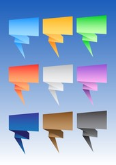 Vector set of origami speech bubbles.