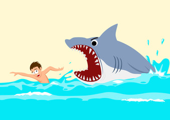 Cartoon illustration of a man avoiding shark attacks