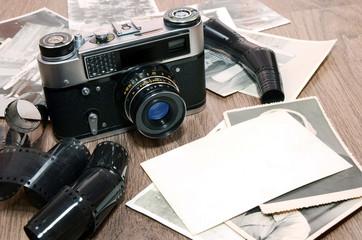 old retro photo camera and film