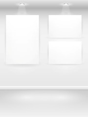 Gallery Interior with empty frames on wall. Vector illustration.