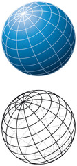 Blue sphere with meridians. Three-dimensional blue sphere with grid-lines and outline version. Illustration on white background. Vector.