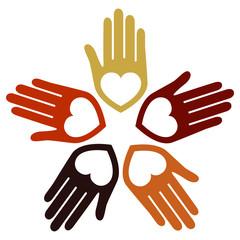 United loving hands vector.