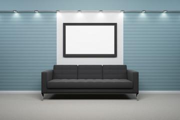 Bilderrahmen mit Sofa, Wand blau