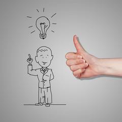 Standing man generating ideas