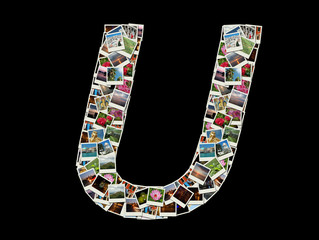"""Shape of  """"A"""" letter made like collage of travel photos"""