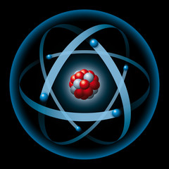 Atom with blue electron shell and electrons, red protons and gray neutrons. Electrons producing atomic shell, neutrons and protons producing atomic nucleus. Illustration on black background.