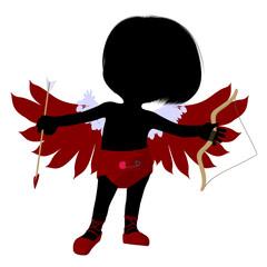Little Cupid Girl Illustration Silhouette