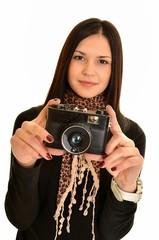 femme avec la camera
