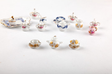 Collection of miniature tea set