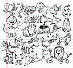 Notebook Doodle Sketch Animal Design Vector Elements Set