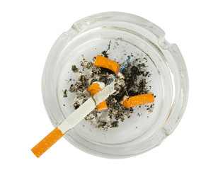 Cigarettes butts in ashtray