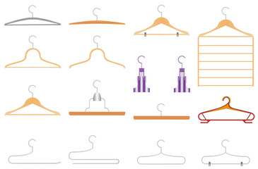 Set of clothes hangers. Collection of isolated clothes hangers.