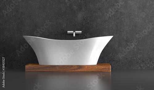 wohndesign badewanne vor grauer wand stockfotos und lizenzfreie bilder auf. Black Bedroom Furniture Sets. Home Design Ideas