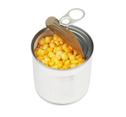 half opened corn can