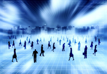 Virtual city with virtual business people