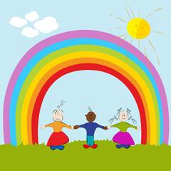 Door stickers Rainbow kids on rainbow background