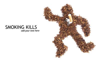 Smoking kills concept dead body made of tobacco