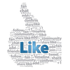 Thumb up - Like sign with social media words