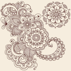 Henna Tattoo Abstract Paisley Flower Doodles Vector