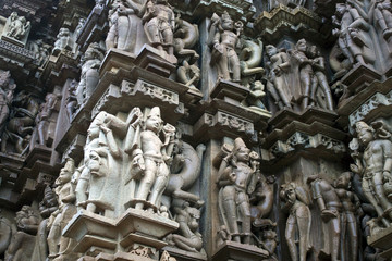 Detail of carving on a temple in Khajuraho