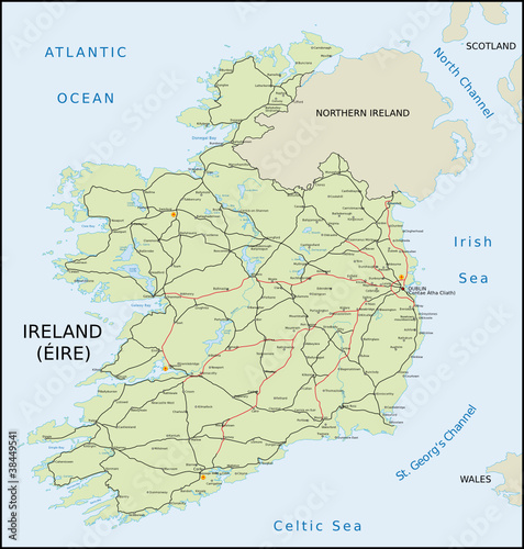 Ireland Roadmap Stock image and royaltyfree vector files on