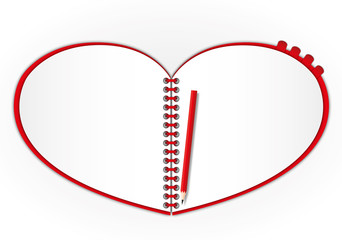 New open page red heart notebook.