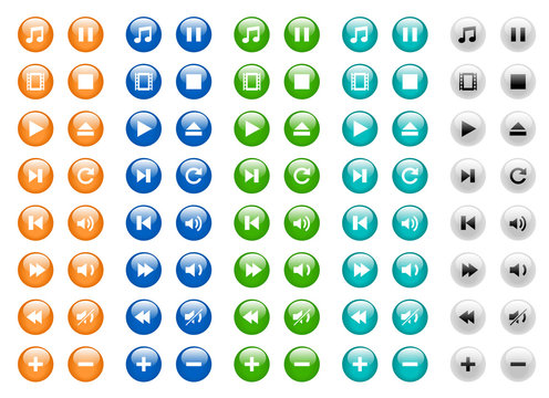 Round media icon set