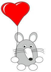 Cartoon baby rat (mouse) toy with red heart balloon