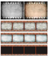 Grunge color filmstrip texture set